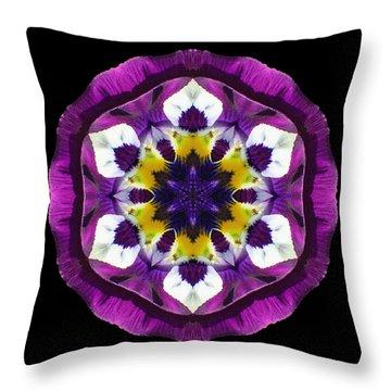 Purple Pansy II Flower Mandala Throw Pillow