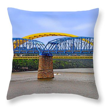 Purple People Bridge And Big Mac Bridge - Ohio River Cincinnati Throw Pillow