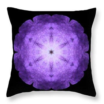 Purple Petunia I Flower Mandala Throw Pillow