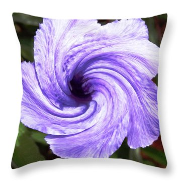 Purple Petunia Twirl Throw Pillow