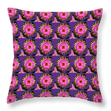 Purple Pink Flower Pattern Decoration Background Designs  And Color Tones N Color Shades Available F Throw Pillow by Navin Joshi