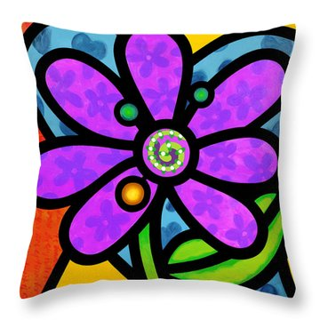 Purple Pinwheel Daisy Throw Pillow