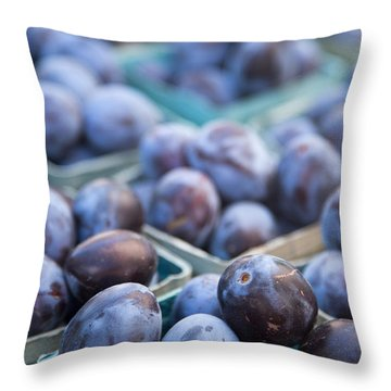 Purple Plums Throw Pillow