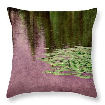 Throw Pillow featuring the photograph Purple Pond Reflections by Patricia Strand
