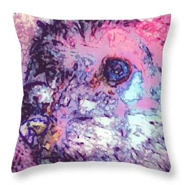 Purple Pooch Throw Pillow by Lady Ex