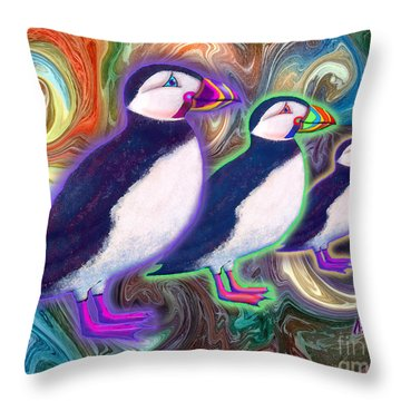 Throw Pillow featuring the mixed media Purple Puffins by Teresa Ascone