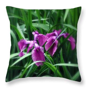 Purple Rain Throw Pillow by Deborah  Crew-Johnson