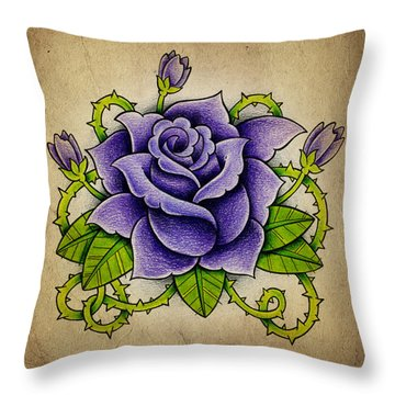 Rose Drawings Throw Pillows