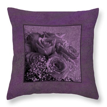 Throw Pillow featuring the photograph Purple Roses Delight by Sandra Foster