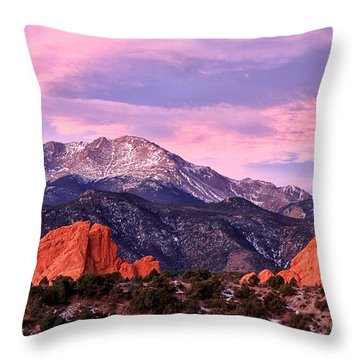 Purple Skies Over Pikes Peak Throw Pillow