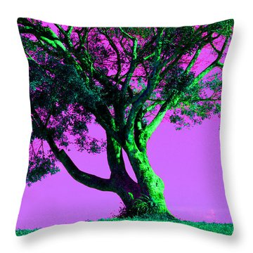 Purple Sky Tree Throw Pillow