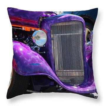 Purple Street Rod Throw Pillow