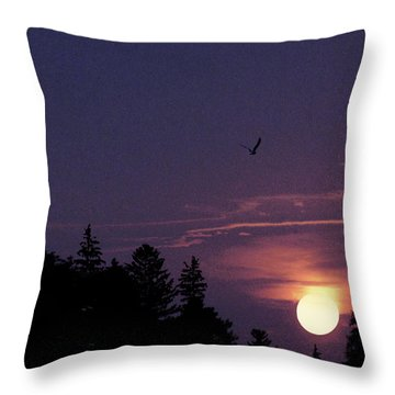 Throw Pillow featuring the photograph Purple Sunset With Sea Gull by Peter v Quenter