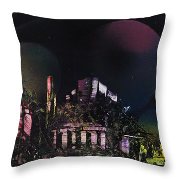 Purple Temple Throw Pillow by Mike Cicirelli