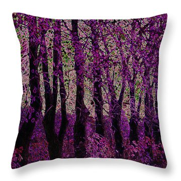 Purple Trees Throw Pillow by Carol Lynch