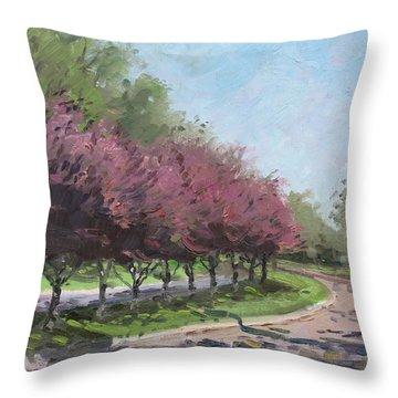 Purple Trees  Throw Pillow by Ylli Haruni