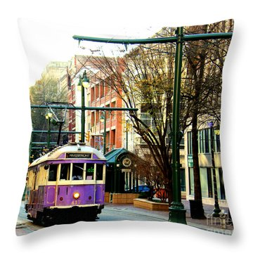 Throw Pillow featuring the photograph Purple Trolley by Barbara Chichester