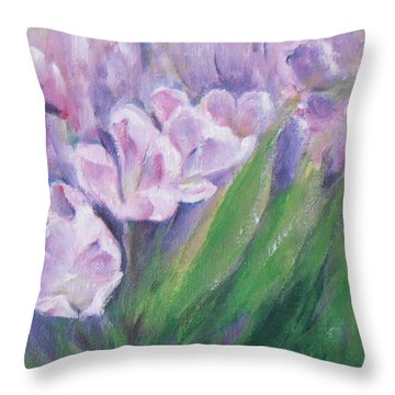 Throw Pillow featuring the painting Purple Tulips  by Jane  See