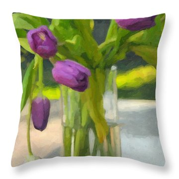 Purple Tulips Throw Pillow by Kenny Francis