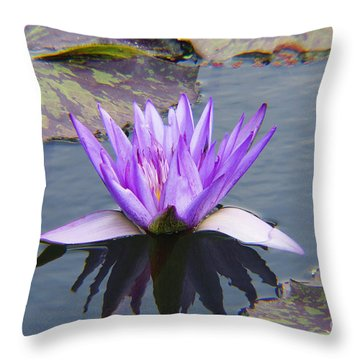 Purple Water Lily With Lily Pads One Throw Pillow