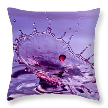 Purple Water Splash Throw Pillow