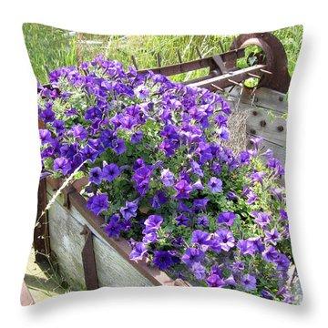 Purple Wave Petunias In Rusty Horse Drawn Spreader Throw Pillow