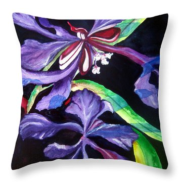 Throw Pillow featuring the painting Purple Wildflowers by Lil Taylor