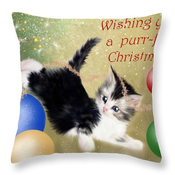 Purr-fect Christmas Greetings  Throw Pillow