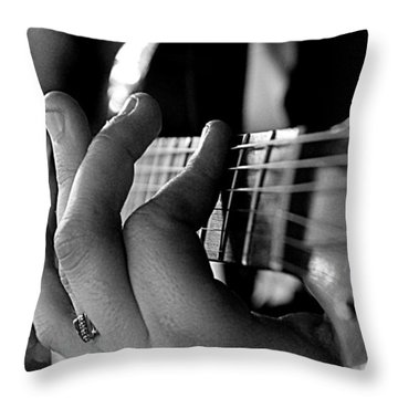 Pushing Frets Throw Pillow by Bartz Johnson