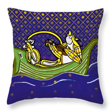 Throw Pillow featuring the drawing Pussycat And Owl Stars by Donna Huntriss