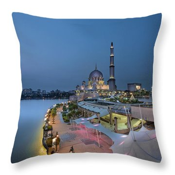Putra Mosque At Blue Hour Throw Pillow by David Gn