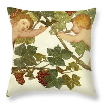 Putti Frolicking In A Vineyard Throw Pillow by Phoebe Anna Traquair