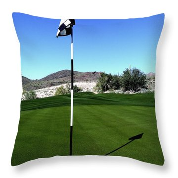 Putting Green And Flag On Golf Course Throw Pillow