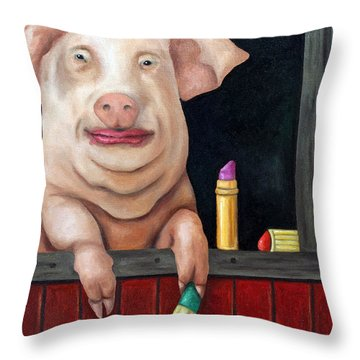 Putting Lipstick On A Pig Throw Pillow