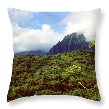 Puu Piei Trail Koolau Mountains Throw Pillow by Thomas R Fletcher