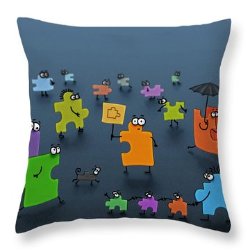 Puzzle Family Throw Pillow by Gianfranco Weiss
