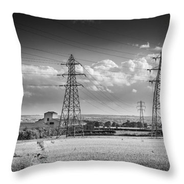 Pylons And Fields. Throw Pillow