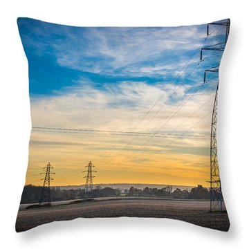 Throw Pillow featuring the photograph Pylons At Sunset by Gary Gillette