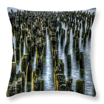 Throw Pillow featuring the photograph Pylons by Rafael Quirindongo