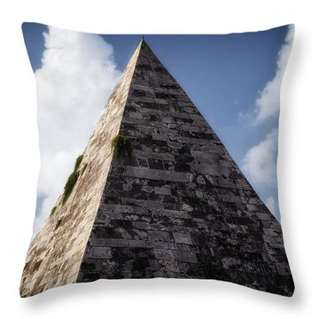 Pyramid Of Rome Throw Pillow by Joan Carroll