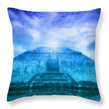 Pyramid Of The Sun Throw Pillow by WB Johnston