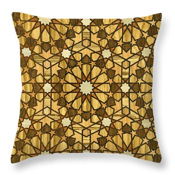 Qarawiyyin Mosque Geometric Pattern 1 Wood Throw Pillow by Hakon Soreide