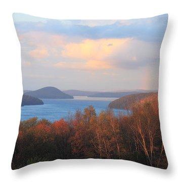 Quabbin Reservoir Enfield Lookout Late Foliage Rainbow Throw Pillow