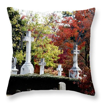 Throw Pillow featuring the photograph Quad Crosses In Fall by Lesa Fine