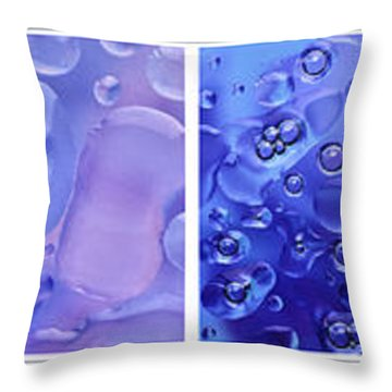 Throw Pillow featuring the photograph Quadryptich Of Colorful Water Bubbles by Peter v Quenter