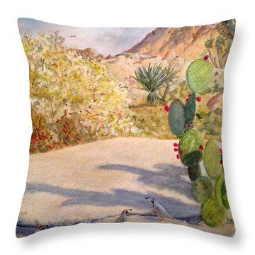 Throw Pillow featuring the painting Quail Valley by Dan Redmon