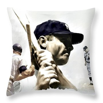 Quality Of Greatness Mickey Mantle Throw Pillow by Iconic Images Art Gallery David Pucciarelli
