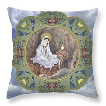 Quan Yin Celestial Blessings Throw Pillow by Nadean OBrien