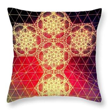 Quantum Cross Hand Drawn Throw Pillow