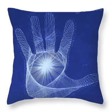 Quantum Hand Through My Eyes Throw Pillow